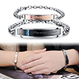 Amazon Price History for:U&Me Fashoin Jewelry Titanium Stainless Steel Bangle Bracelet Set With Swiss Cubic Zirconia for Couple Anti-fatigue