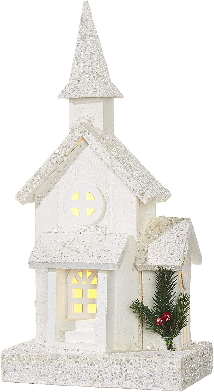 RAZ Imports 17 White Wooden Lighted Church Christmas Tabletop Decor with Glitter Snow