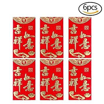 MCREE 6 Stück Pcs Chinese Red Briefumschläge \