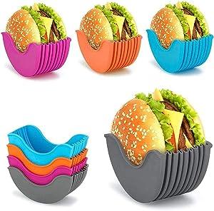 4 Pcs Burger Buddy Burger Fixed Box, Adjustable Hamburger Buns Burger Holder, Burger Holder Reusable Mess, Hygienic Reusable Hamburger Box Silicone Rack Holder Burger Box, BPA-Free & Dishwasher Safe