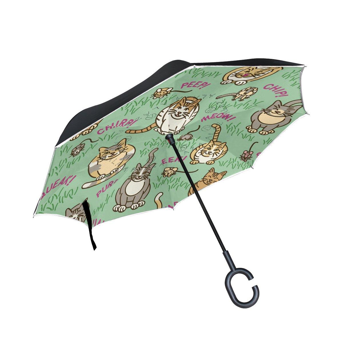 TIZORAX Chats et la Maison-Blanche inversé double couche droites parapluies sur l'envers réversible Parapluie avec poignée en forme de C pour la pluie Soleil de voiture Utilisation