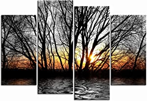 LevvArts - 4 Piece Black and White Canvas Print Wall Art Lake Tree Forest in Gold Sunset Picture Nature Landscape Painting Modern Home Ofiice Living Room Wall Decor Framed and Ready to Hang