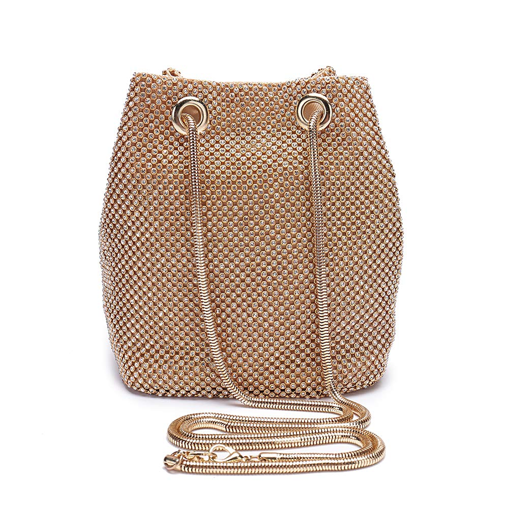 Peng Fang Evening Bags Clutches Shoulder Bucket Bag for Women Crystal Rhinestone Small Handbag Party Prom Wedding Purse(Gold)