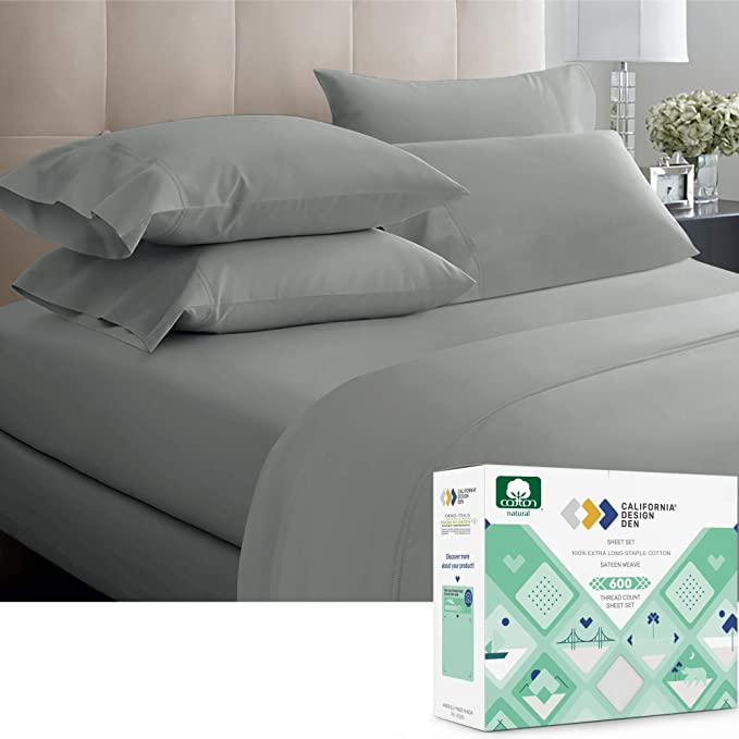 3 Piece Bed Sheet Set 600 Thread Count Sheets Twin XL 100/% Pure Cotton Sheets for Kids and Adults Fits Mattresses Up to 17 Deep Pocket Twin XL Size Folkstone Blue