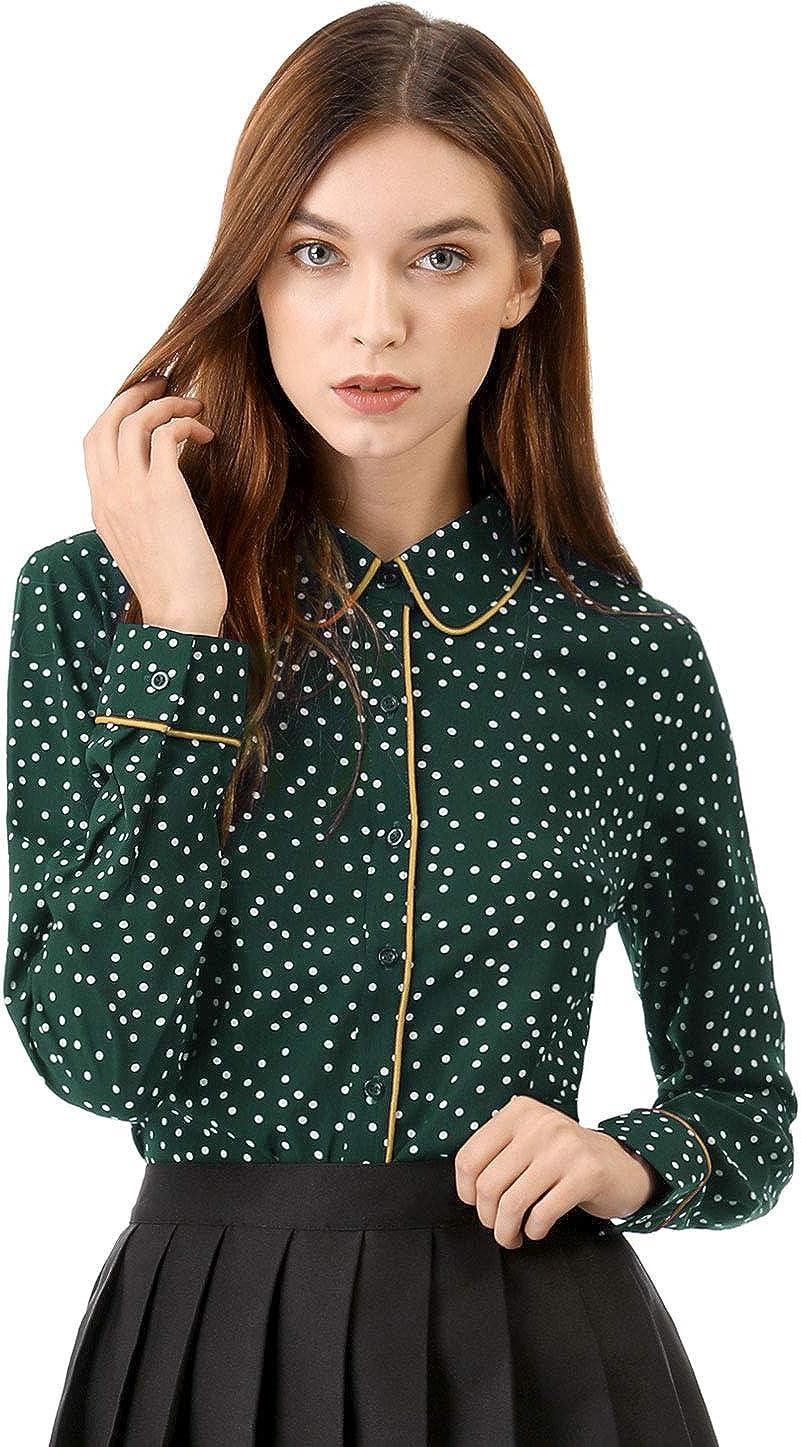 Allegra K Women's Polka Dots Long Sleeve Piped Button Down Office Shirt
