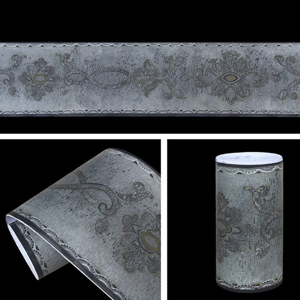 SimpleLife4U Gray Floral Wallpaper Border Peel and Stick Bathroom Kitchen Tile Decor Waterproof Stickers