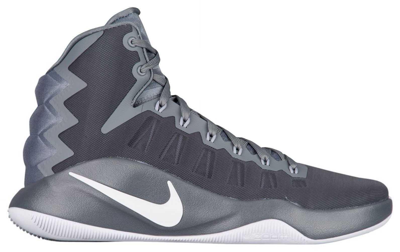 Nike Mens Hyperdunk 2016 Cool Grey/White/Wolf Grey Synthetic Basketball Shoes 13 M US