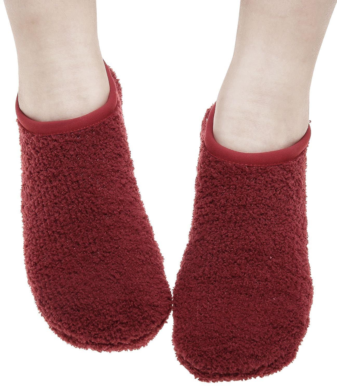 Amorismo Women Low Cut Warm Socks Slipper Non Slip Ankle Knitted ASOCKSLIPPERS2BLUEW