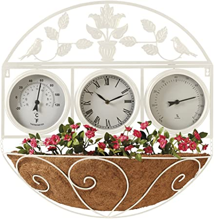 Reloj decorativo grande exterior para pared y valla de jardín, resistente a la intemperie, termómetro higrómetro: Amazon.es: Hogar