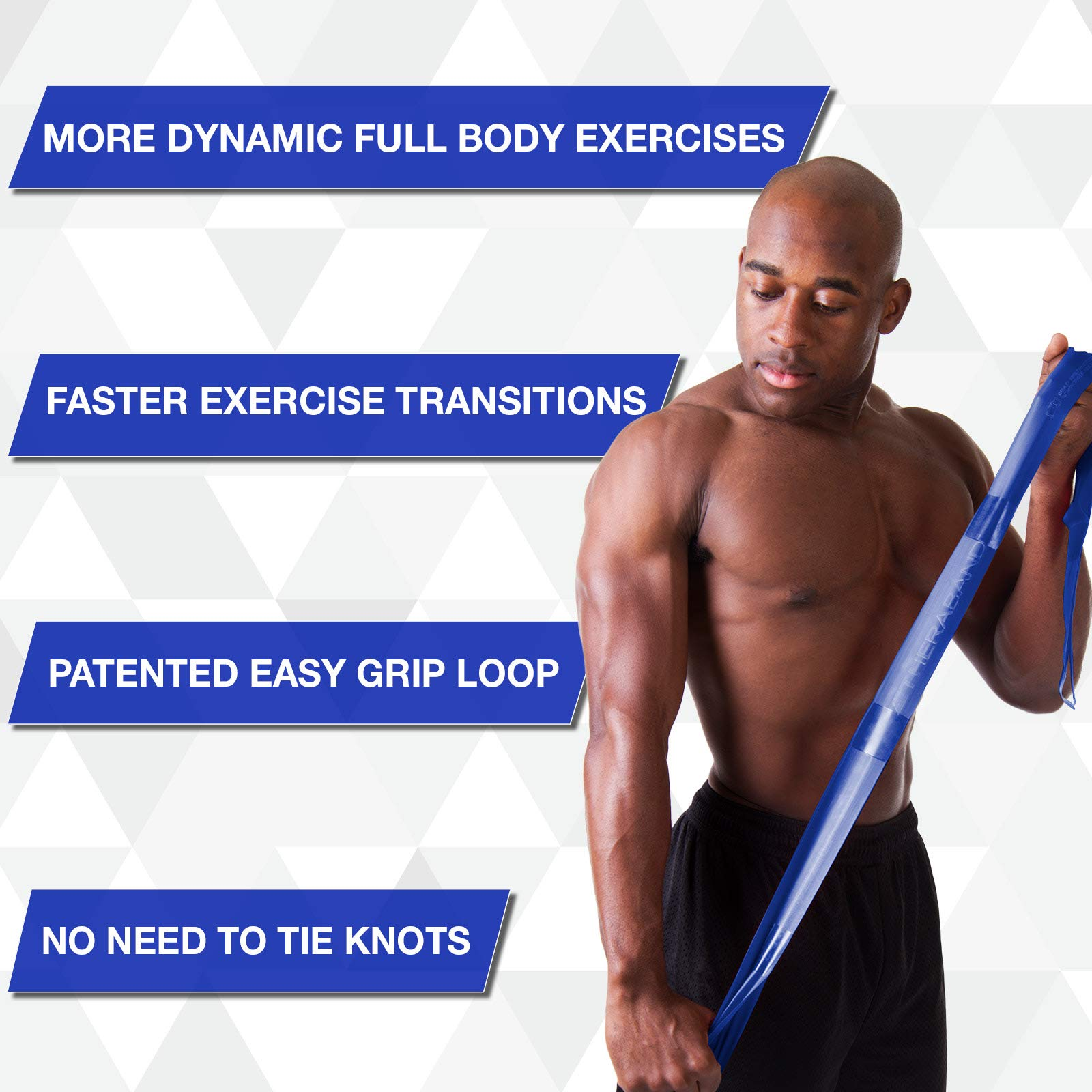 TheraBand CLX Resistance Band with Loops, Fitness Band for Home Exercise and Full Body Workouts, Portable Gym Equipment, Gift for Athletes, 25 Yard Dispenser, Blue Extra Heavy, Intermediate Level 2 by TheraBand (Image #3)