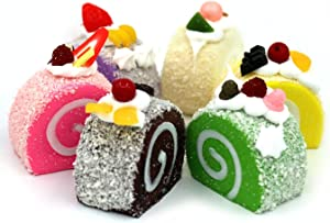 Nice purchase 6pcs Realistic Artificial Simulation Cake Dessert Mixed Fake Cake Food Model Home Staging Crafts Photography Props Fake Swiss Roll Kitchen Home Decoration Display