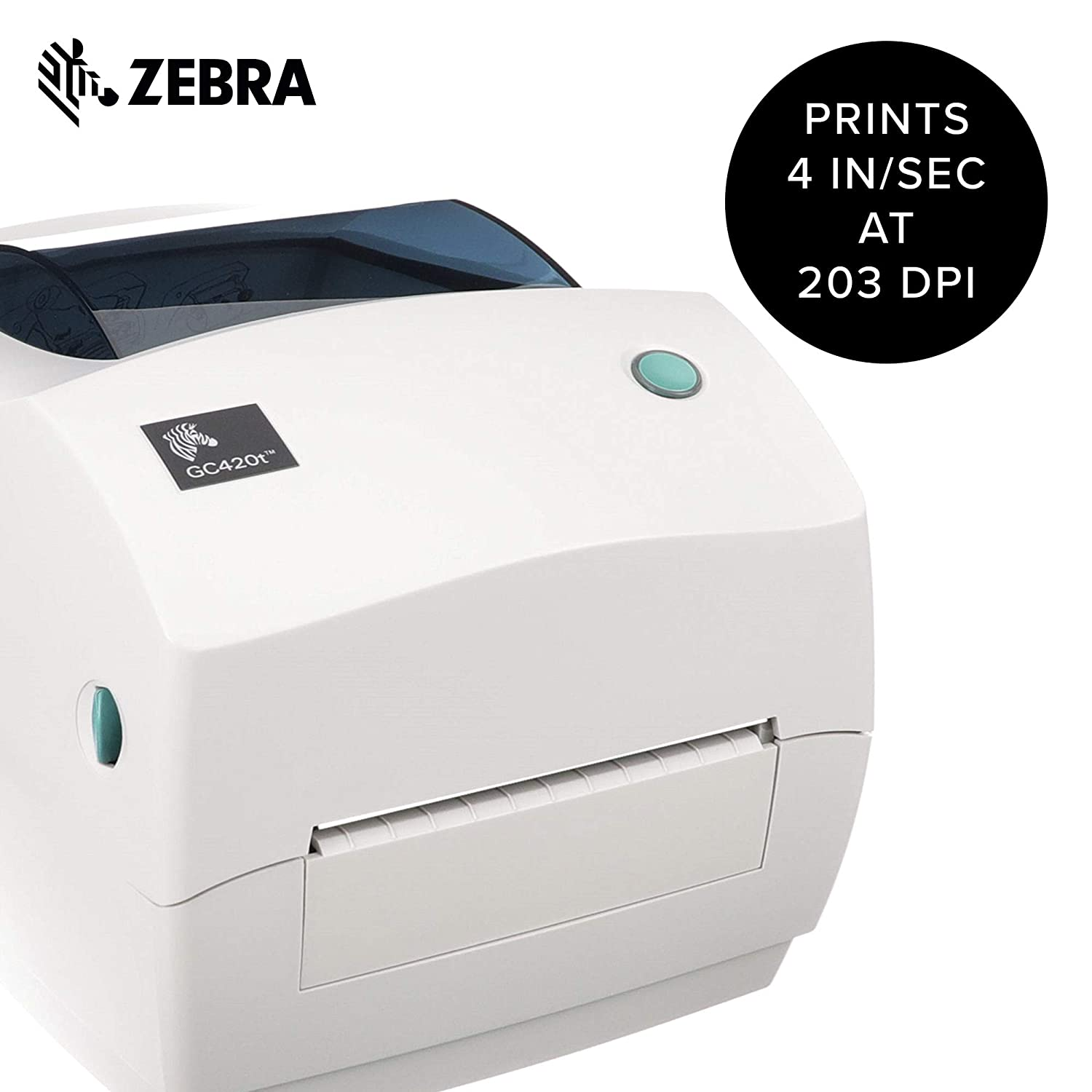 Zebra - GC420t Thermal Transfer Desktop Printer for Labels, Receipts, Barcodes, Tags, and Wrist Bands - Print Width of 4 in - USB, Serial, and ...