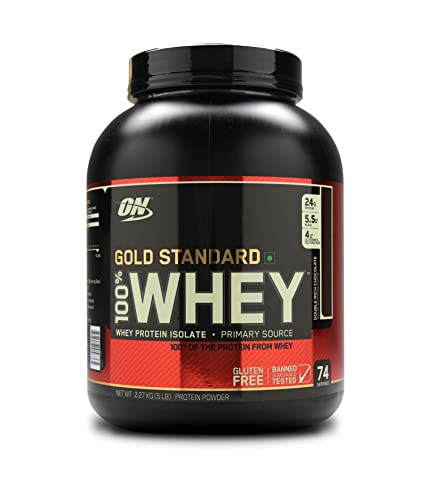 Optimum Nutrition  ON  Gold Standard 100% Whey Protein Powder   5 lbs, 2.27 kg  Double Rich Chocolate  Whey Proteins