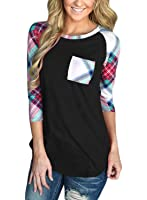 Annflat Women's Casual Striped 3/4 Sleeve Pocket T Shirt Color Block Blouses and Tops S-XXL