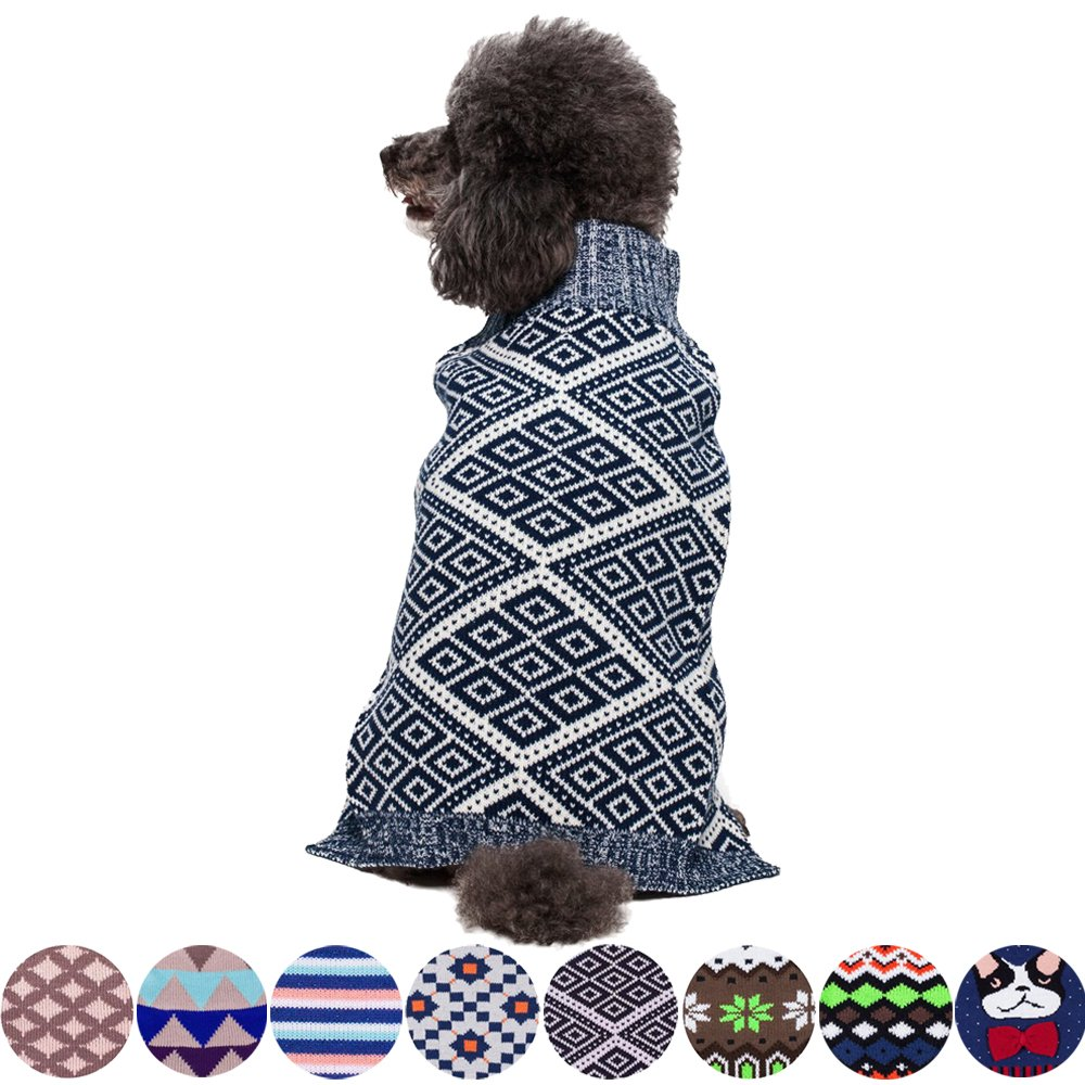 Blueberry Pet 2 Patterns Dog Sweater with Blue and White Diamond Pattern, Back Length 20'', Pack of 1 Clothes for Dogs