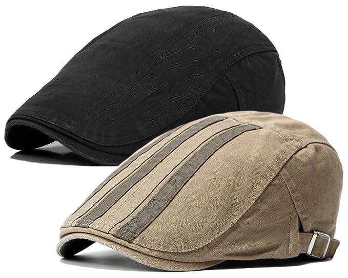 Qunson 2 Pack Men s Cotton Flat Cap Ivy Gatsby Newsboy Hat at Amazon ... 5f52f4b6424