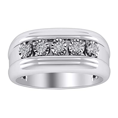 e05d8a14d19e28 Trillion Jewels Five Stone Mens Wedding Ring 0.25 CT Round Cut Diamond in  14K White Gold