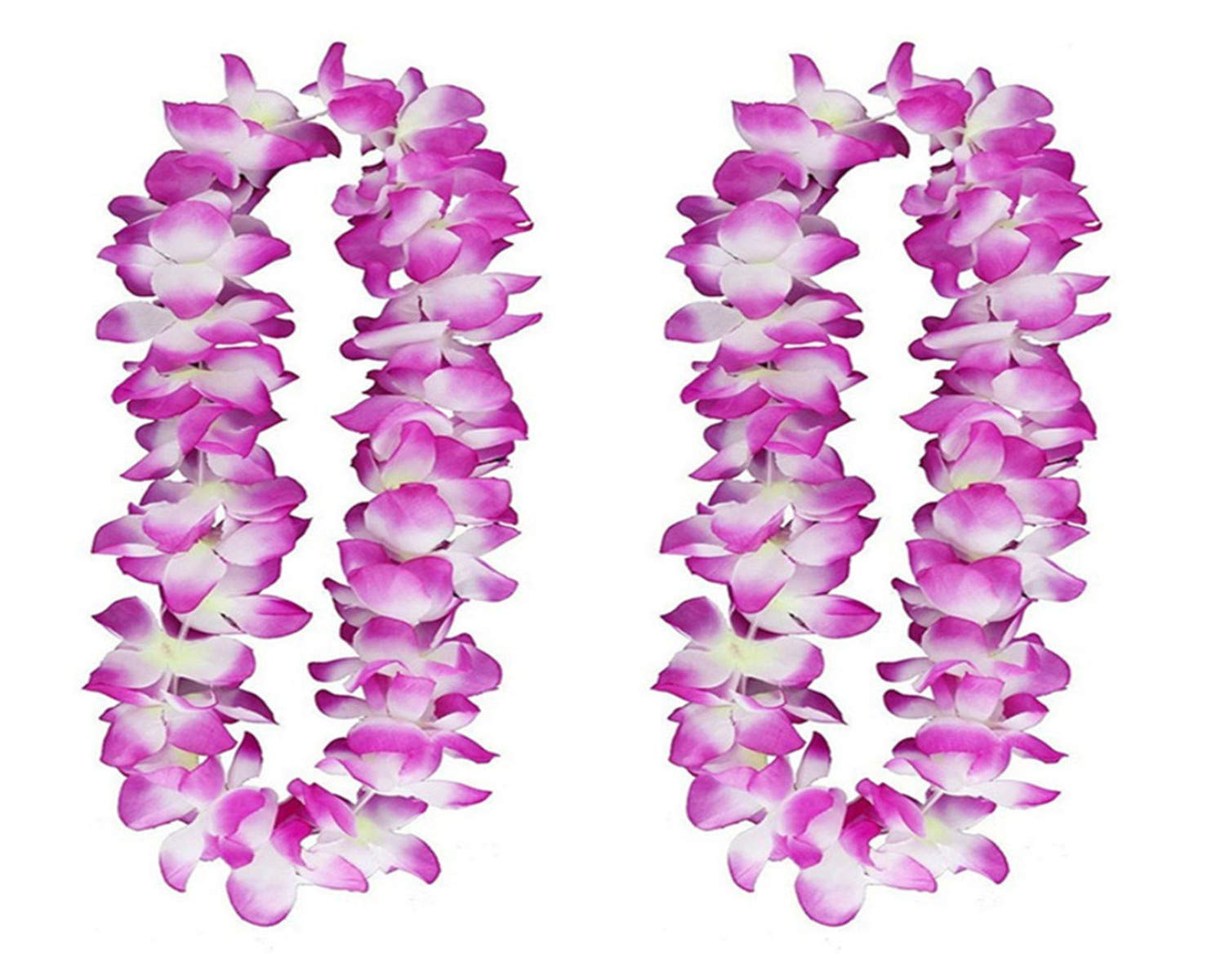 silk flower arrangements yansanido 41'' pack of 6 large size thickened fully graduation party hawaiian ruffled simulated silk flower leis necklace for party favor and hula-hula hawaiian dance (purple)