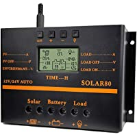 BXE Solar Charge Controller 80A PWM 12V 24V 1920W Solar Panel Charger Discharge Regulator with 5V USB Output Multip Circuit Protection Anti-Fall Durable ABS Housing Enhanced Heat Sink