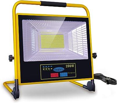 Werkstatt Garage LED Baustrahler 50W Akku Strahler, bapro Solar Arbeitsleuchte Fernbedienung Dimmbar IP65 Wasserdicht Wiederaufladbares 15000mAh Tragbar Au/ßenscheinwerfer f/ür Baustelle
