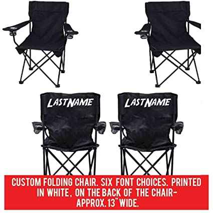 VictoryStore Custom Last Name Folding Chair Set Of 2  Custom Wedding Gift  Black Camping Chair