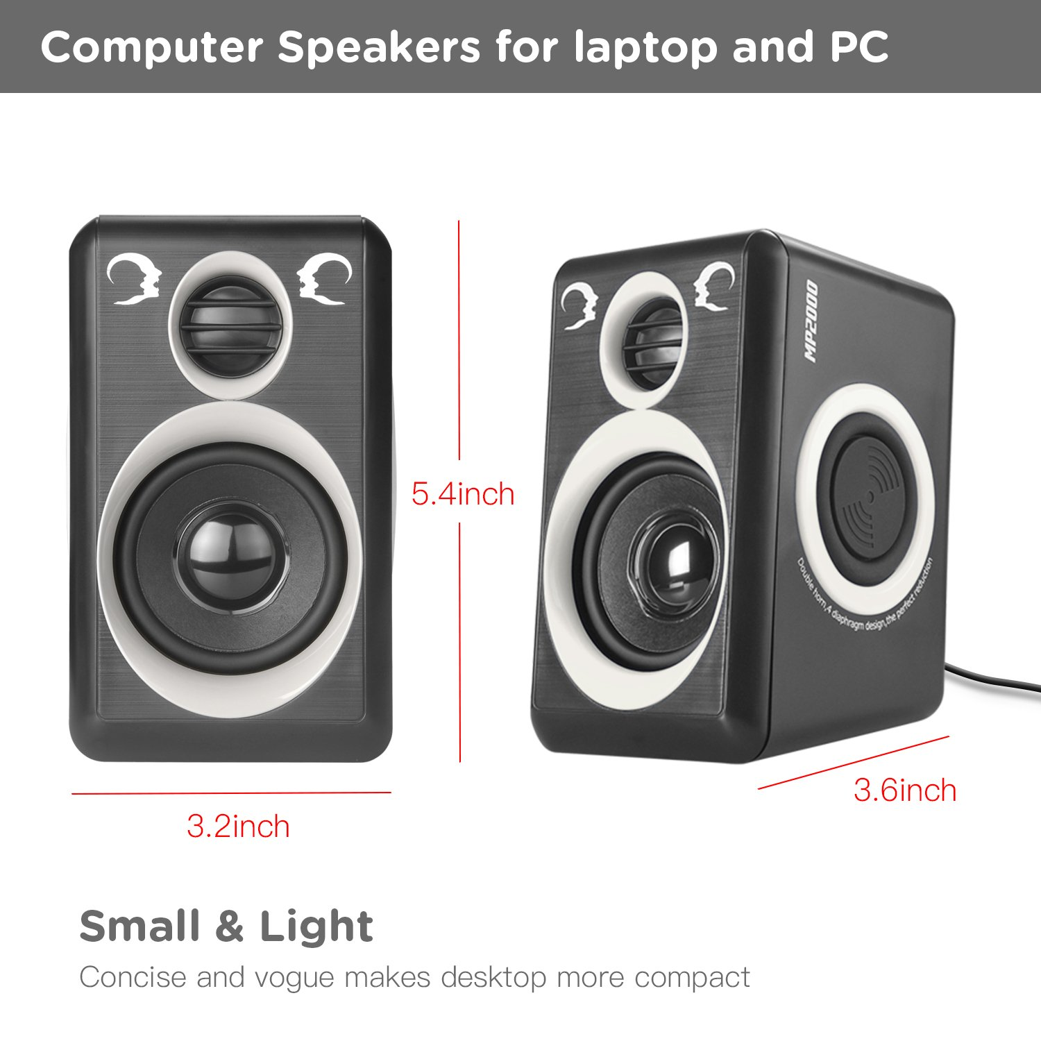 Computer Speakers With Surround Sound 2.0CH USB Wired Powered Multimedia Speaker for Desktop/TV/PC/Laptops/Smart Phone RECCAZR Built-in Four Loudspeaker Diaphragm (Gray) by RECCAZR (Image #6)