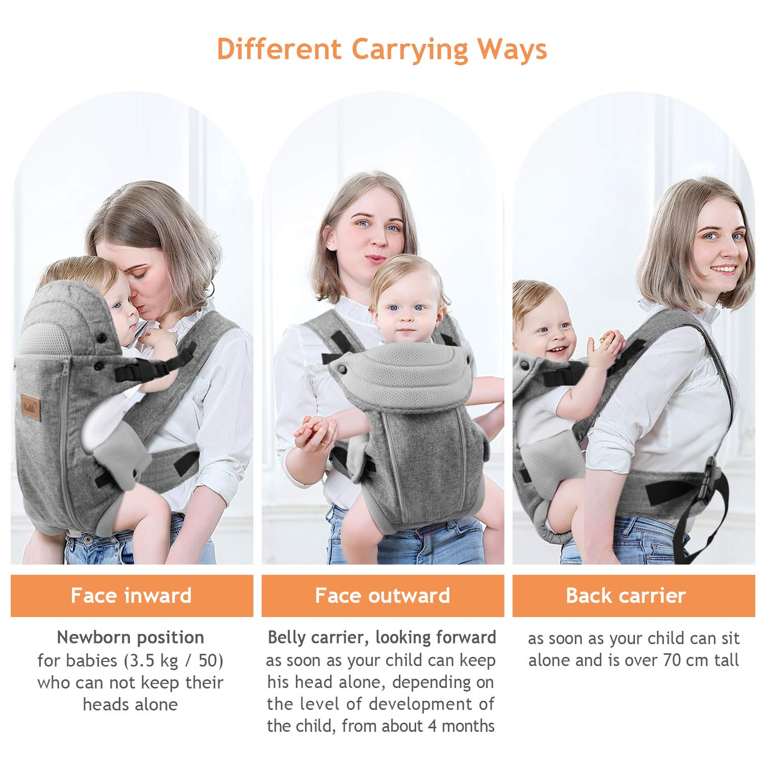 8-20 lbs 3.6-9 kg Easy to Put On for Newborn to 1 Year Old Baby Bable Soft and Cozy Ergonomic Baby Carrier Comfortably Carry Baby Flaxen Newborn Baby Carrier Multi-Position Carrier