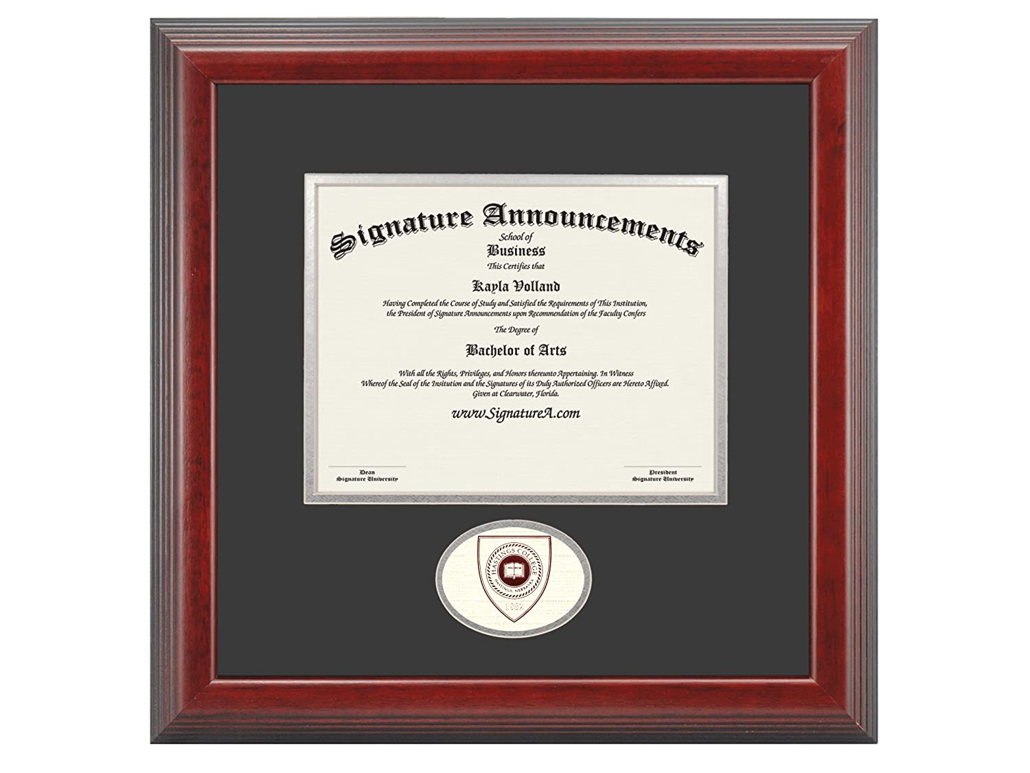 Sculpted Foil Seal Graduation Diploma Frame 16 x 16 Cherry Signature Announcements Hastings-College Undergraduate