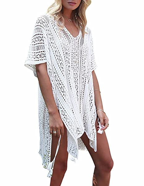 a2f385c34aab6 GeLivable Women s Bathing Suit Cover Up Swimwear Sleeve Crochet Beach Dress  (White) at Amazon Women s Clothing store