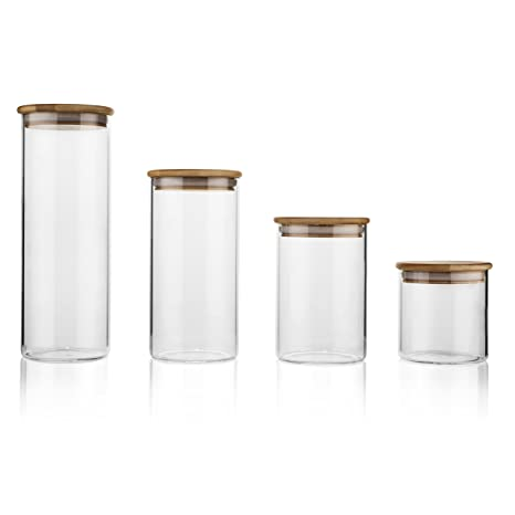 Amazoncom Set of 4 Airtight Glass Storage Jars with Bamboo Lids