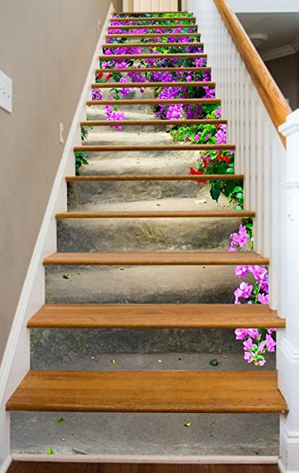 Stairs In Bloom RiserArt 46u0026quot; X 14 Painted Stairway Decoration Adhesive Vinyl  Stair Riser Panels