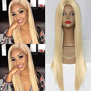 PlatinumHair long blonde straight wigs synthetic lace front straight wigs for black women 26inch