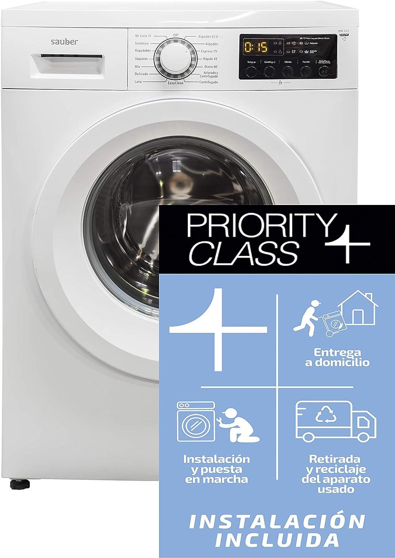 Sauber - Lavadora de carga frontal WM612-6 kg - 1200 RPM - Eficiencia energética: A+++ - Color Blanco - INSTALACIÓN INCLUIDA