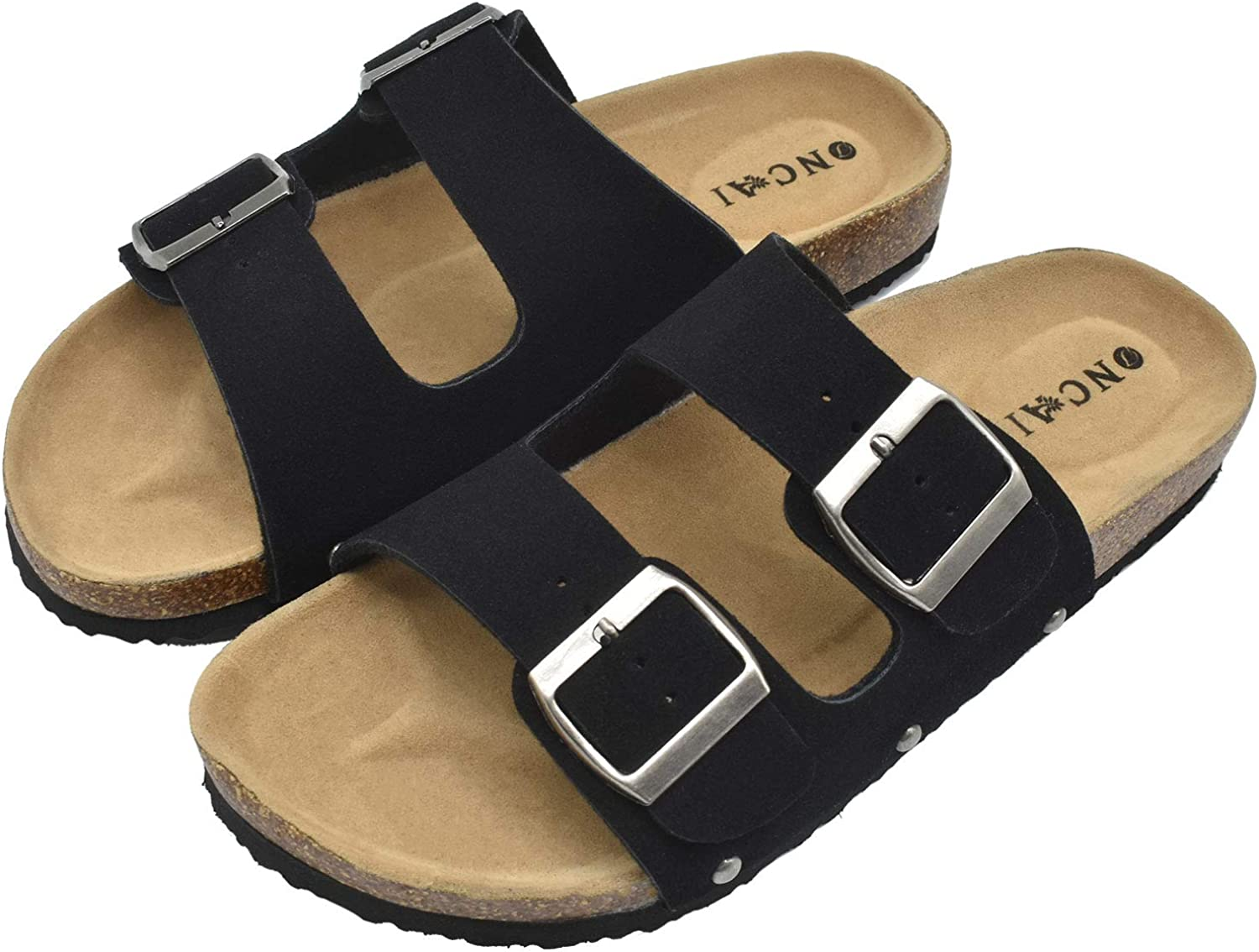 Womens Flat Slide Sandals with Arch