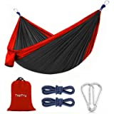 Camping Hammock, Portable Nylon Hammock with 2 Tree Ropes, Lightweight and 660-pound Large Capacity for Backpacking…