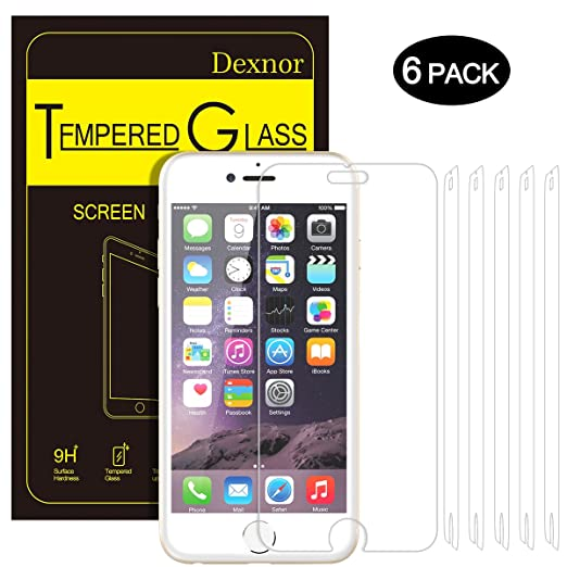 18 opinioni per Pellicola Vetro Temperato iPhone 6 6S, [6 Pack] Dexnor Pellicola Protettiva Film
