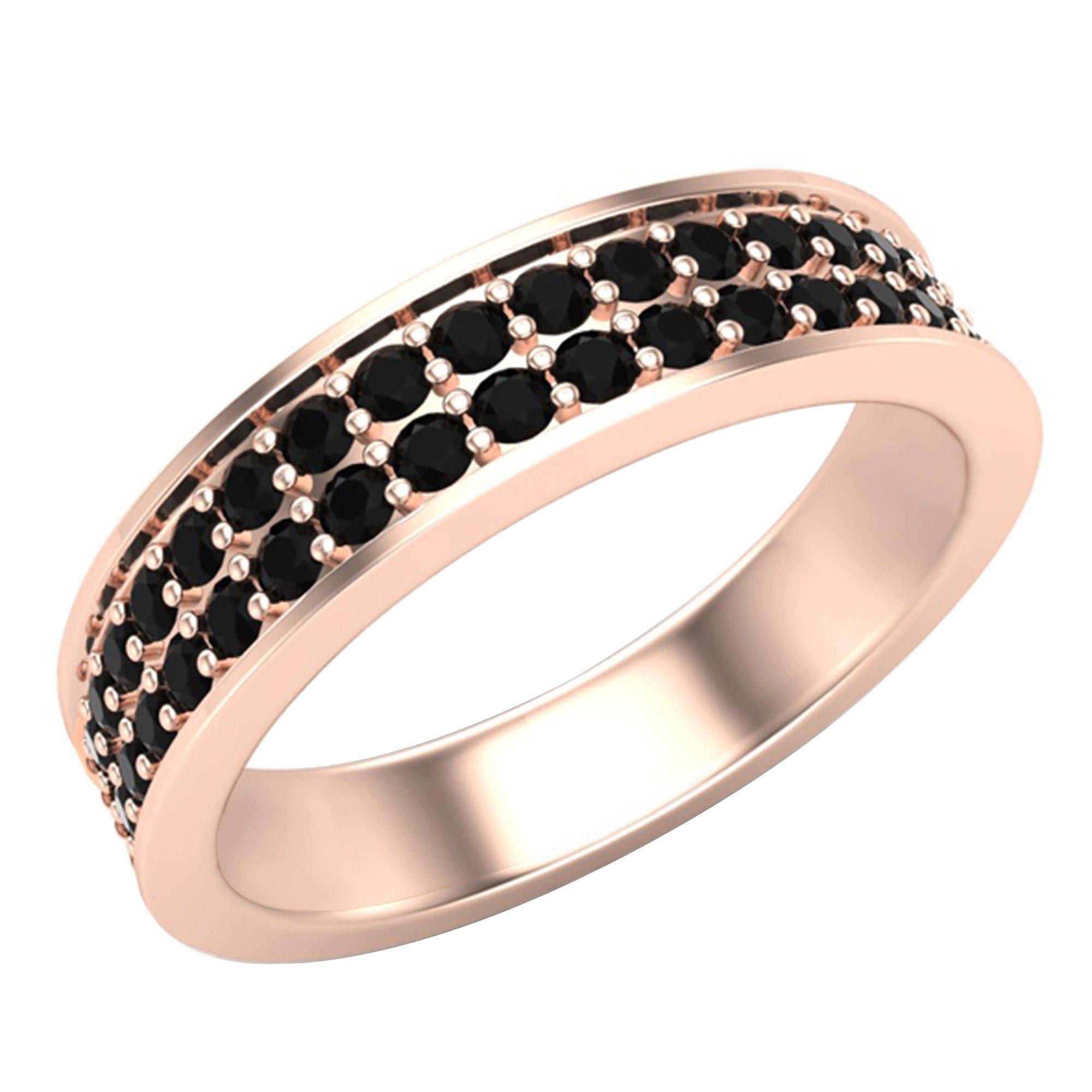 Men's Black Diamond Wedding Band 0.75 ctw Two-Row Half Way Men's 14K Rose Gold 5mm (Ring Size 9)