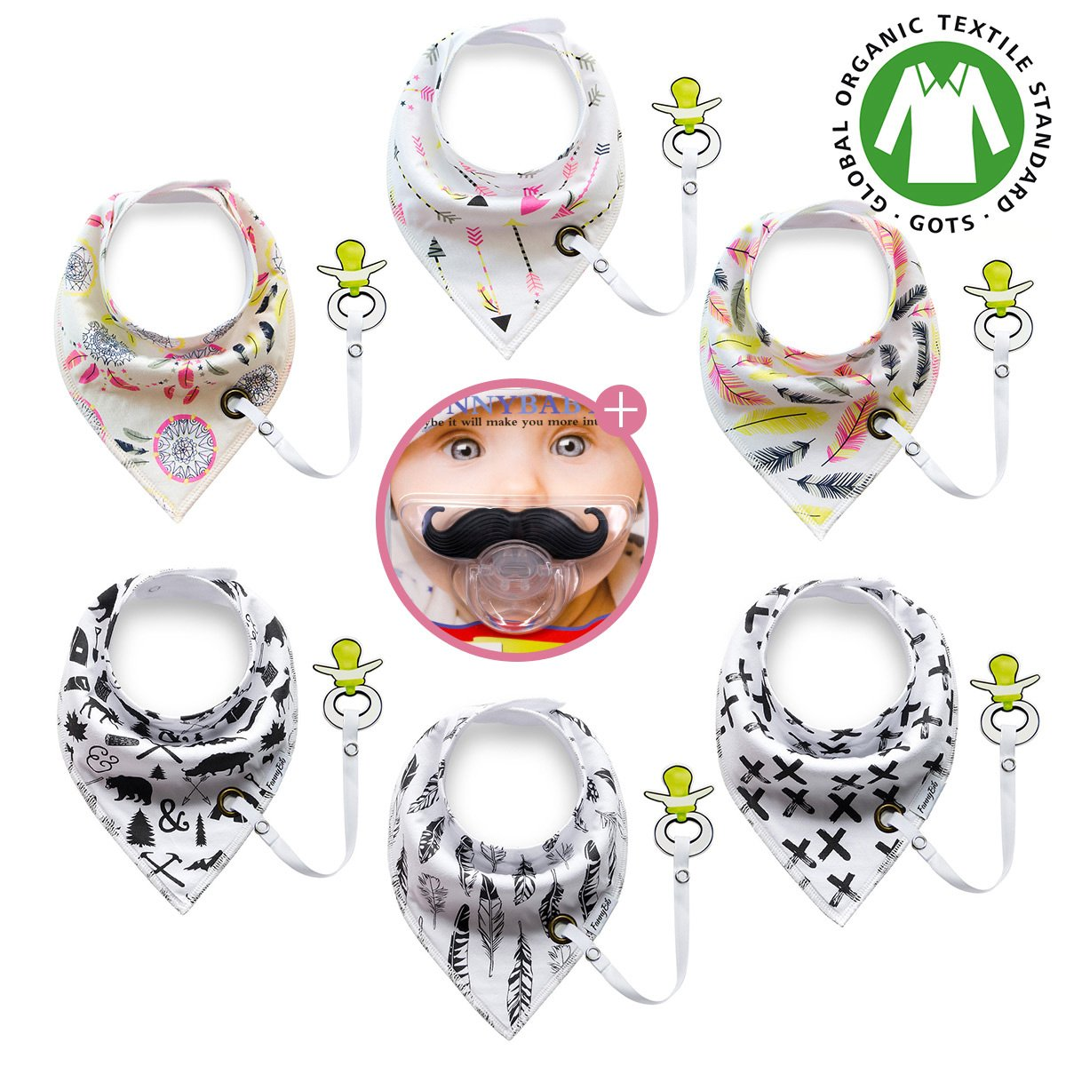 Premium Baby Bandana Drool Bibs unisex 6-Pack Gift Set for Drooling Teething Feeding 100% Organic Cotton Hypoallergenic Absorbent with 1 Mustache Pacifier for Boys and Girls FannyBib