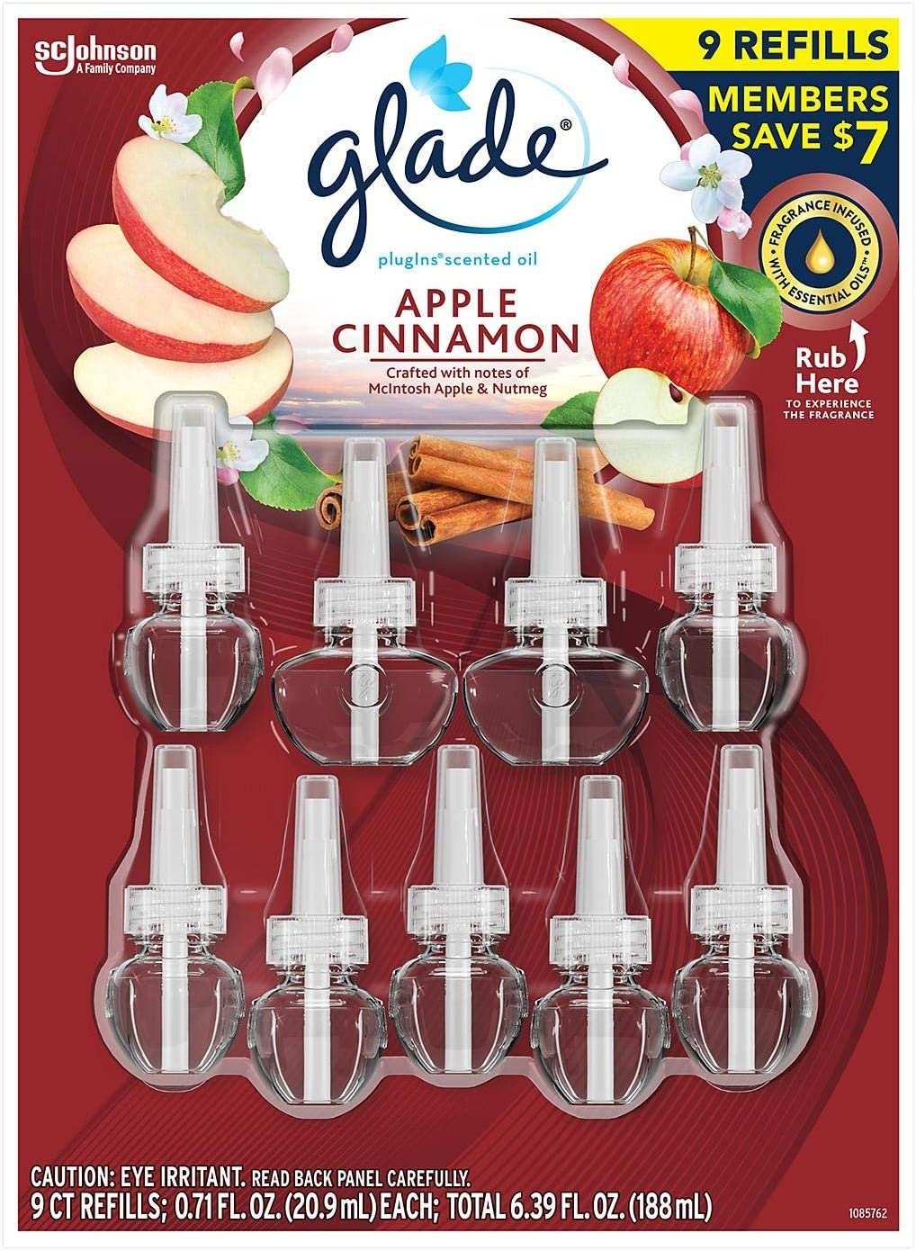Glade PlugIns Scented Oil Refill, Essential Oil Infused Wall Plug in, 6.39 fl. oz, 9 ct. (Apple Cinnamon)
