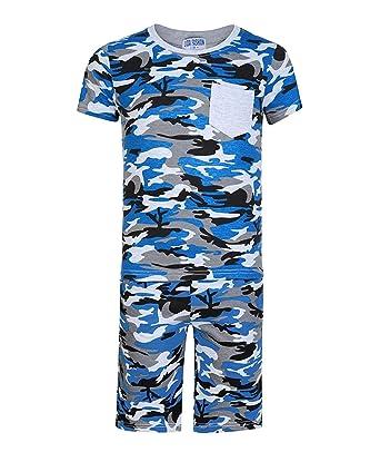 0447d38fda33d LotMart Enfants 2 Pièces T-Shirt & Ensemble Short Imprimé Camouflage Garçon  Fille Haut et Bas de Survêtement - Camouflage Bleu, 3-4 Ans: Amazon.fr: ...