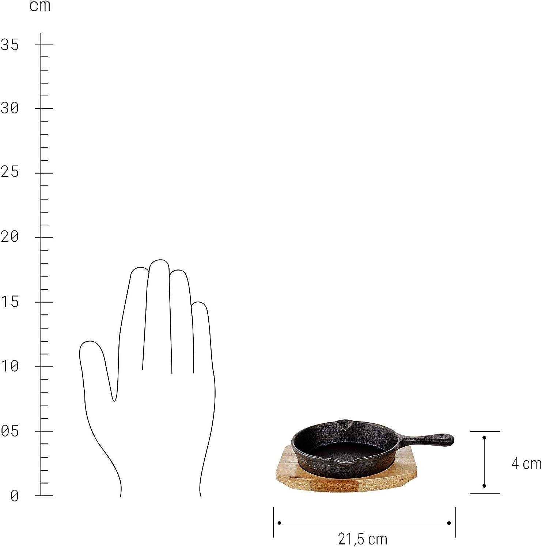 Butlers HOT IRON Mini-Servierpfanne mit Holzuntersetzer L 22 x B 15cm