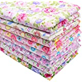 """iNee Pink Floral Fat Quarters Quilting Fabric Bundles, Sewing Fabric for Quilting Crafting, 18""""x22"""" (Pink Floral)"""