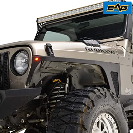 Jeep Wrangler Fenders >> Amazon Com Eag Front Fender With Led Eagle Lights Armor For 97 06