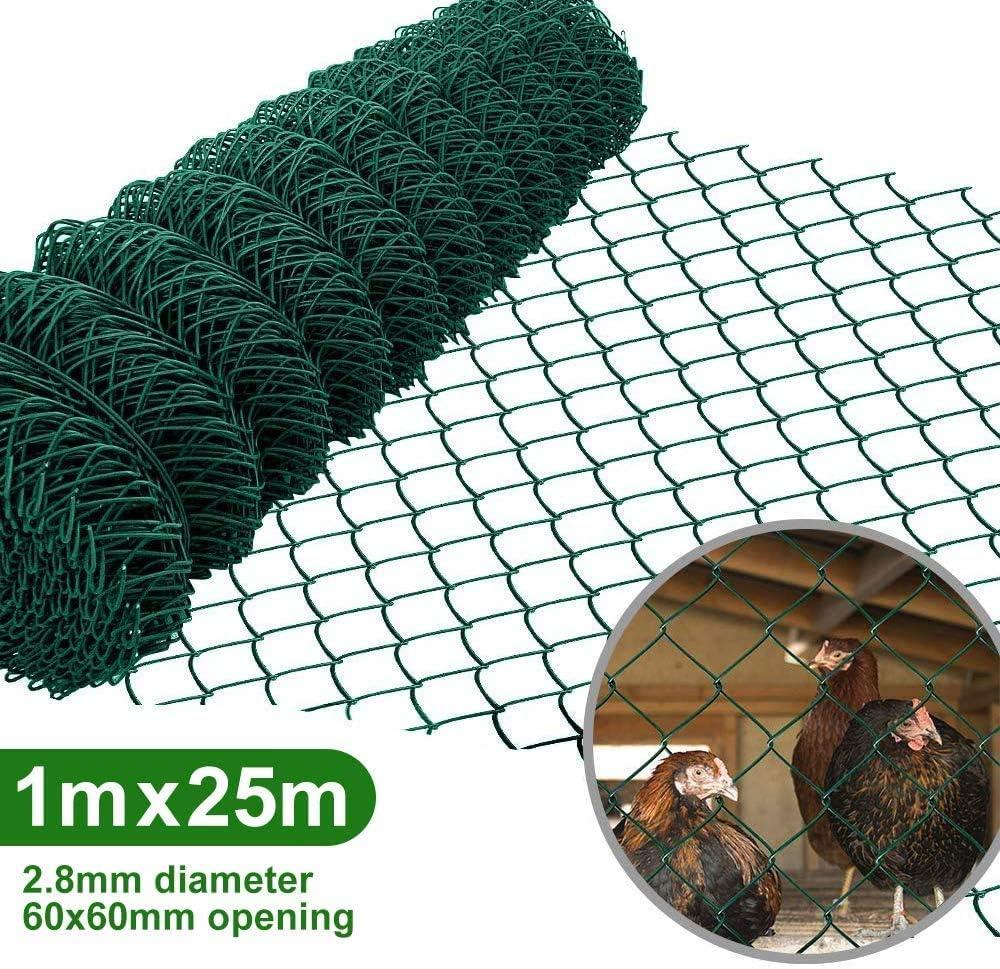 Amagabeli 1M X 25M Rollo Malla Cerca de Alambre Enrejado Cuadrada Verde Grosor de Alambre 2.8 mm Malla de Alambre Rombo 60 x 60 mm Malla de Alambre Recubierta de Plástico Valla de Tela Metálica HC03