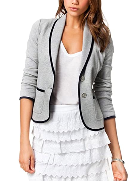 746b33a16146 Zantec Traje de chaqueta formal, para Las mujeres de la moda del diseño del  todo-fósforo Leisure Blazer Bussines traje de color sólido chaqueta:  Amazon.es: ...