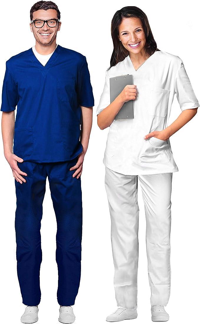 Uniforme hospitalario 100% de algodón. Casaca con escote con forma ...