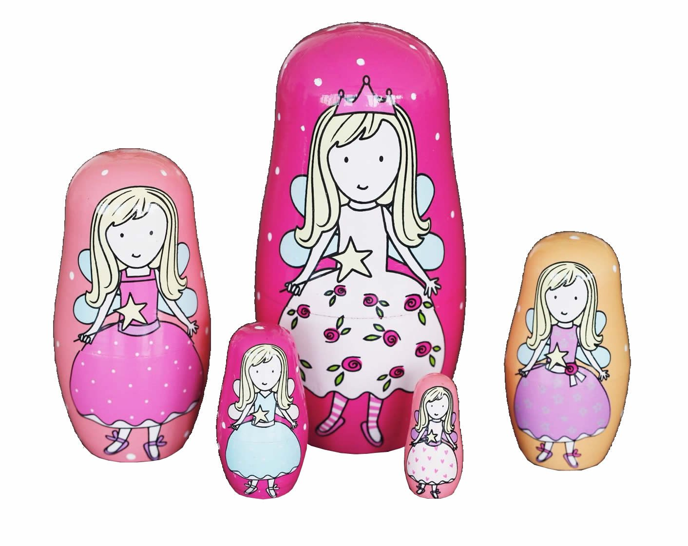5pcs Cute and Funny Wooden Fairy Stacking toys/Russian nesting dolls/Matryoshka gifts for kids