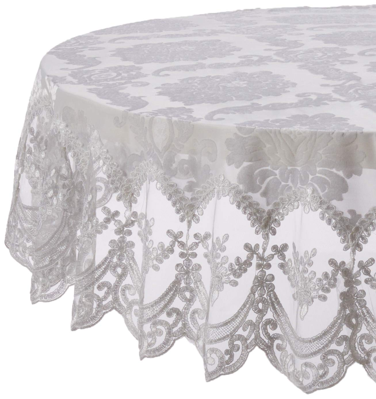 White 70  Round purple Linen Fontainebleau Embroidered Lace Tablecloth, Floral Velvet Design - White - 70  x 120