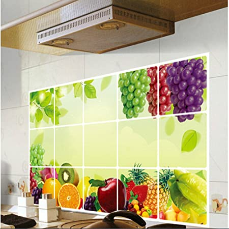 Fruit Grapes Background Kitchen Stickers Oil Proof Waterproof Tile