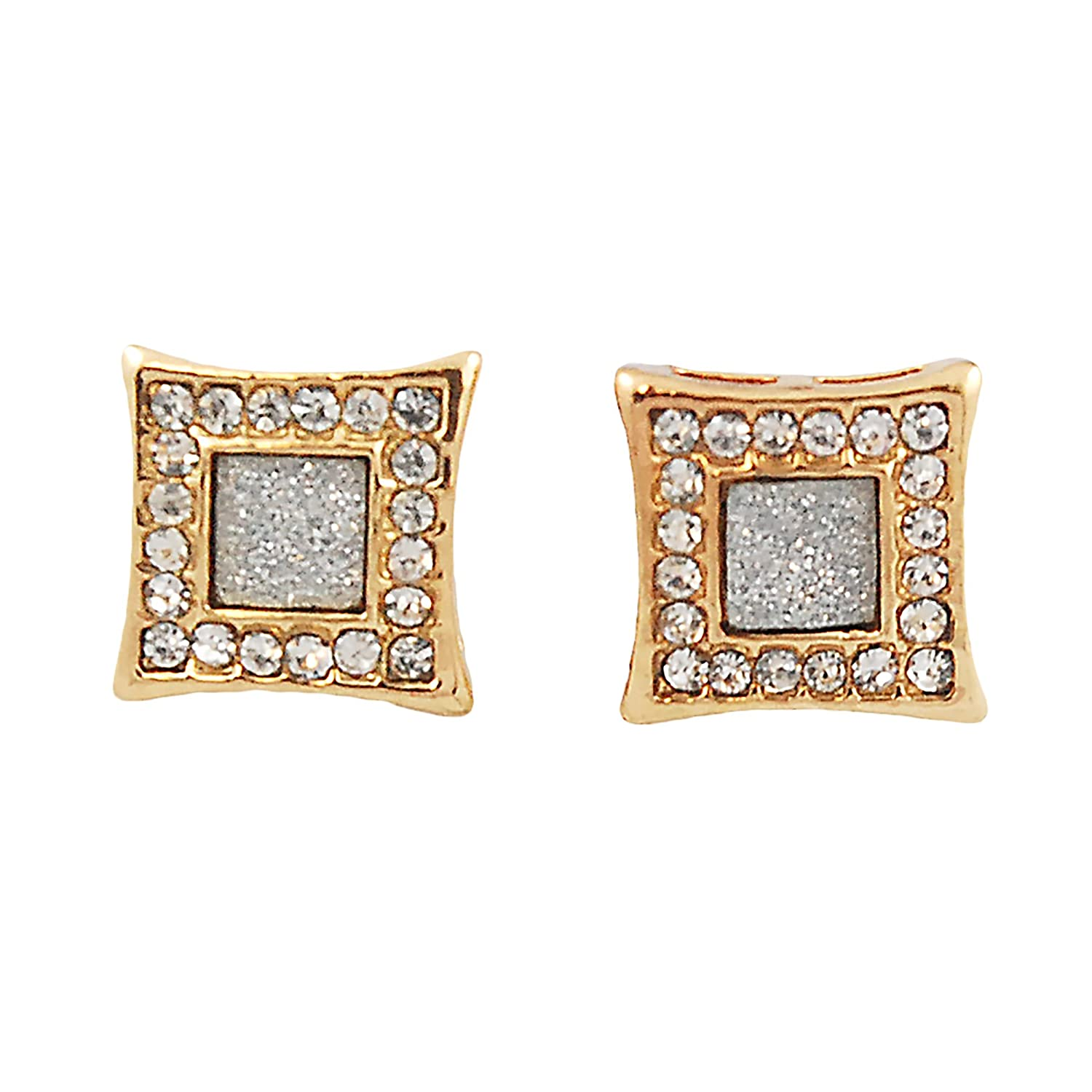 971a98f15 Amazon.com: Mens Gold-Tone 10mm Iced Out Hip Hop Bling Stardust Micropave  Dome Kite Earrings: Jewelry